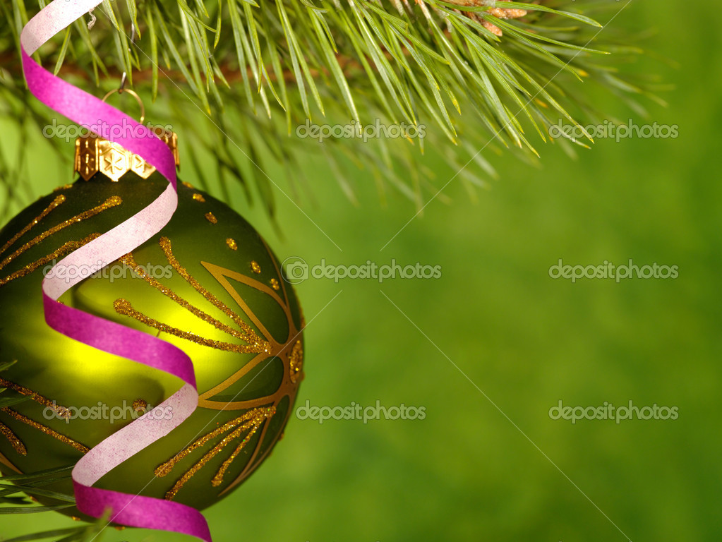 Xmas green ball on the green background. — Stock Photo #1016390