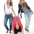 Stock Photo: Young teens posing on white. Is not isol