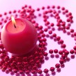 Holiday still life with candles on pink — Stock Photo #1026183