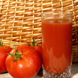 Royalty-Free Stock Photo: Fresh ripe tomatoes with glass of juice