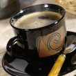 Morning coffee. Cup of espresso with ste — Stock Photo
