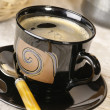 Morning coffee. Cup of espresso with cof - Stock Photo