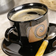 Morning coffee. Cup of espresso with cof — Stock Photo