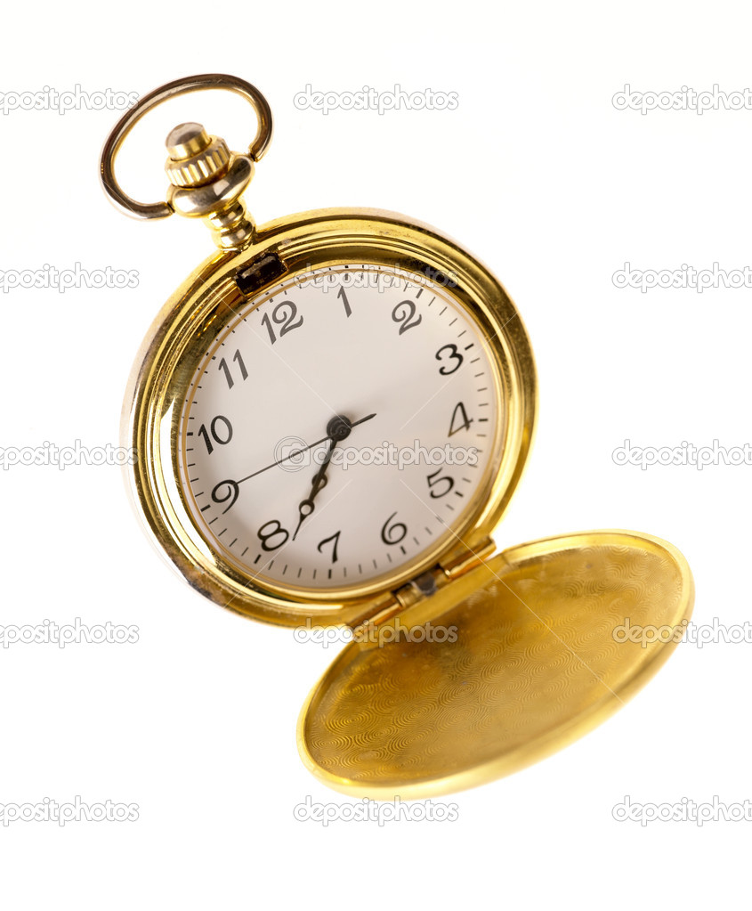 Vintage pocket watch on white background — Stock Photo #1063284