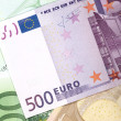 Stock Photo: Money background from euro banknotes