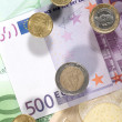 Stock Photo: Money background from euro banknotes and