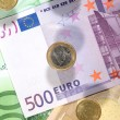 Money background from euro banknotes and — Stock Photo