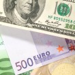 Money background from dollars and euro b — Stock Photo
