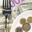Finance dinner background. Dollars and E - Stock Photo
