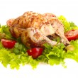Grilled chicken whole with vegetables on — Stock Photo #1194147