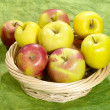Fresh juicy apples on green background i — Foto Stock