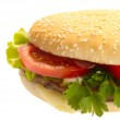 Hamburger with vegetables. isolated with — Stock Photo