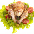 Grilled chicken whole with vegetables on — Stock Photo #1195528