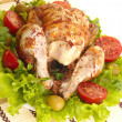 Stock Photo: Grilled chicken whole with vegetables on