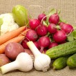 Fresh tasty vegetables on burlap — Stockfoto #1196449