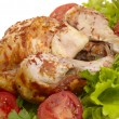 Grilled chicken whole with vegetables on — Stock Photo