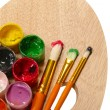 Paintbrushes on wooden palette. RGB conc — Stock Photo