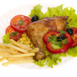 Grilled chicken leg with vegetables and - Stock Photo