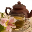 Tea ceremony. Green tea, flower and teap — Stockfoto