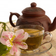 Stock Photo: Tea ceremony. Green tea, flower and teap
