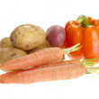 Fresh tasty vegetables on white backgrou — Stock Photo