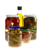 Home Preserves and oliva oil. Isolated o — Stock Photo