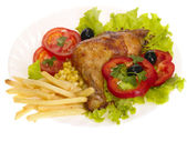 Grilled chicken leg with vegetables and — Stock Photo