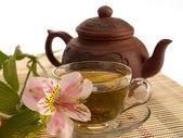 Tea ceremony. Green tea, flower and teap — Stock Photo