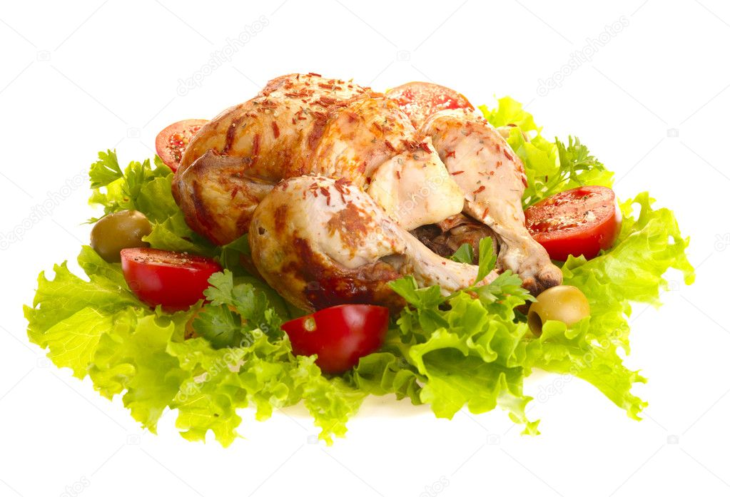 Grilled chicken whole with vegetables on salad leafs. Isolated with clipping path — Stock Photo #1194147