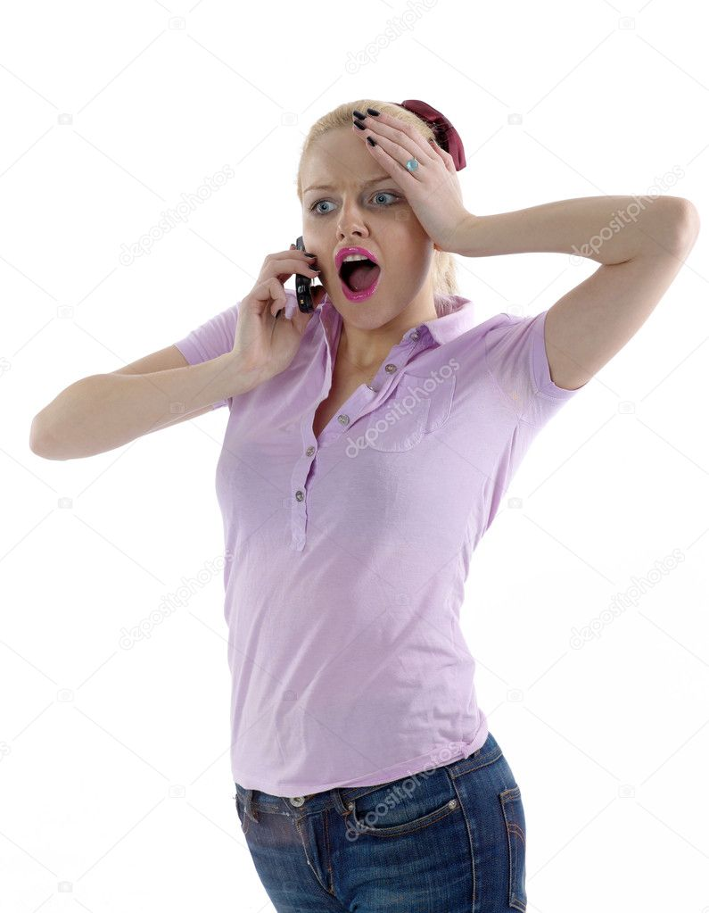 Young attractive girl in shocking situation — Stock Photo #1232315