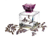 Glass of perfume with heather — Stock Photo