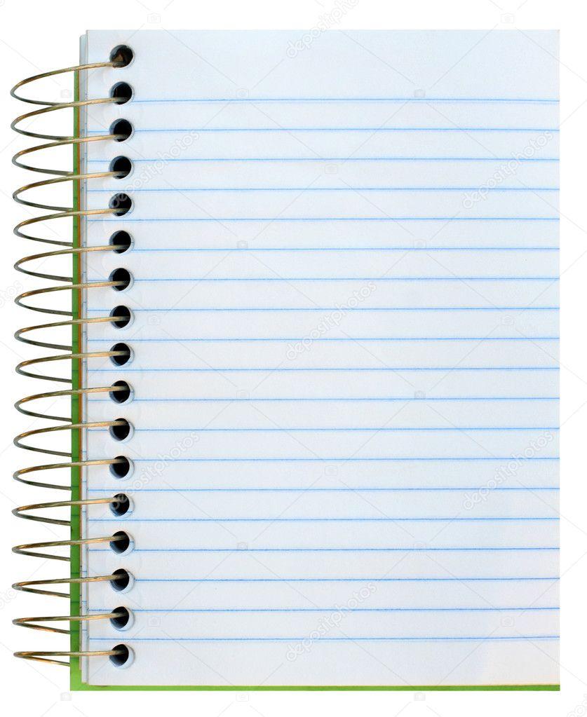 孤立在白色的纸质螺旋笔记本– 图库图片