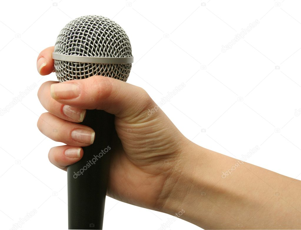 Hand with microphone isolated on white background  Stock Photo #1029618