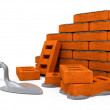 Brick wall construction of new house — Stock Photo