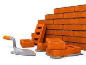 Brick wall construction of new house — Stock Photo