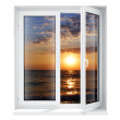 Stock Photo: New opened plastic glass window frame is