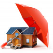 Red umbrella protecting house from rain — Stock Photo