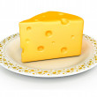 Piece of cheese isolated food on the whi — Stock Photo