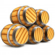 Wooden barrels for wine and beer storage — Stock Photo #1013939