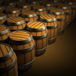 Wooden barrels for wine and beer storage — Stock Photo #1013961