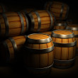 Wooden barrels for wine and beer storage — Stock Photo