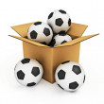 Soccer balls in the box — Stock Photo