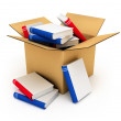 Cardboard box with books - Stock Photo