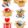 Stock Photo: New house, heart, window, books and balls in box