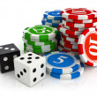 Chips and dice game from casino — Stock Photo #1014154