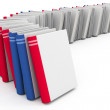 Red and blue books with blank covers - Stock Photo