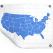 Paper sheet with usa map — Foto de Stock