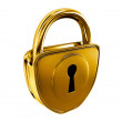Gold lock isolated - Stock Photo