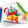 Paper sheet with illustration and pencils — Stock Photo