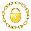 Royalty-Free Stock Photo: Gold lock with chain isolated security illustration